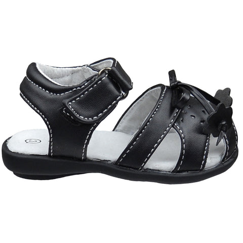 Toddler Flat Sandals Tassled Bow Flower Accent Comfort Dress Shoes Black