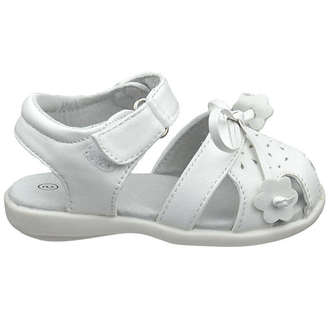 Toddler Flat Sandals Tassled Bow Flower Accent Comfort Dress Shoes White