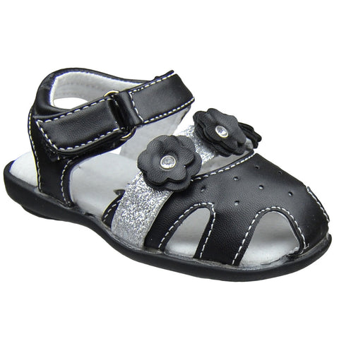 Toddler Flat Sandals Glitter Strap Flower Accent Comfort Dress Shoes Black