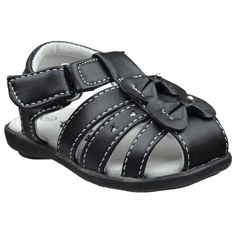 Toddler Flat Sandals Two Bow Accent Comfort Dress Shoes Black