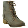 Womens Ankle Boots Faux Leather Lace Up Western Block Heel Shoes Brown
