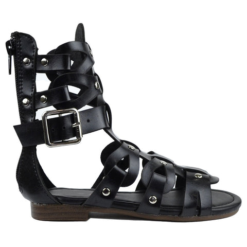 Kids Flat Sandals Faux Leather Silver Stud Caged Gladiator Shoes Black