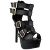 Womens Dress Sandals Strappy Buckle Accents Platform Shoes black