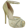 Womens Dress Sandals Mesh Lace Peep Toe High Heel Dress Shoes Gold