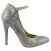 Womens Dress Shoes Rhinestone Embellished Sexy Stiletto Pumps Silver