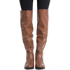 Womens Knee High Boots Multiple Buckle Accent Motorcycle Riding Shoes Cognac