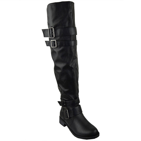 Womens Knee High Boots Multiple Buckle Accent Motorcycle Riding Shoes Black