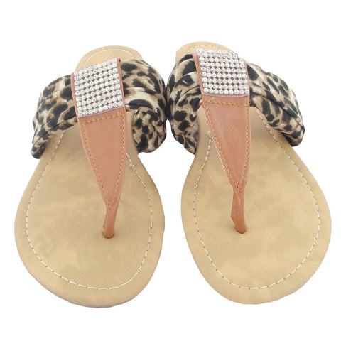 Womens Flat Sandals Thong Leopard Print Tulle Rhinestones Brown