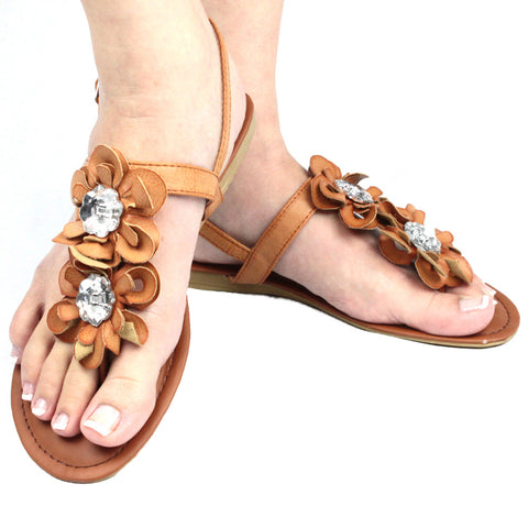 Womens Flat Sandals Thong Flower T-Strap Adjustable Ankle Strap Tan