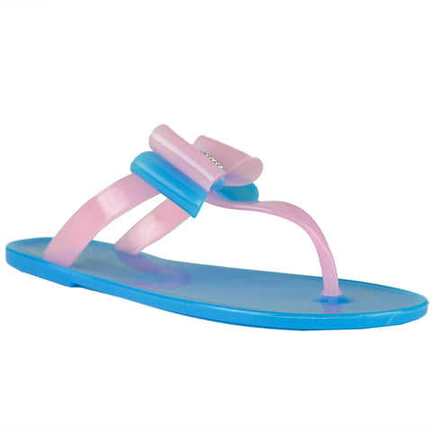 Womens Flat Sandals Layered Front Bow Casual Comfort  Slip On Blue