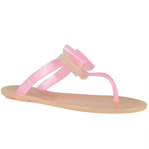 Womens Flat Sandals Layered Front Bow Casual Comfort  Slip On Nude