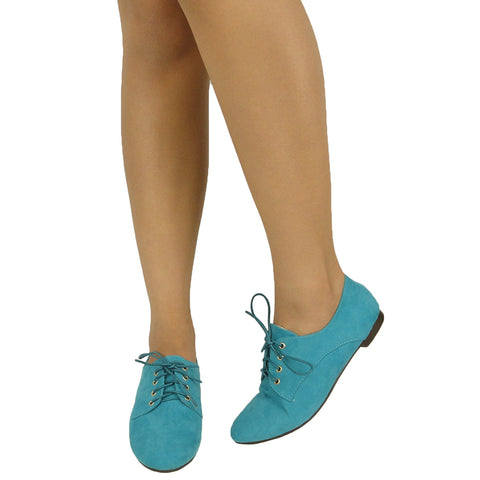 Womens Ballet Flats Suede Lace Up Casual Comfort Shoes Blue