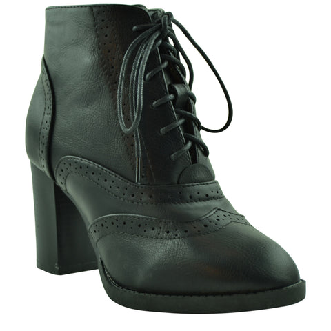 Womens Ankle Boots High Heel Oxfords Lace Up Brogue Shoes black
