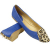 Womens Ballet Flats Fur Leopard Toe Cap Back Studded Blue