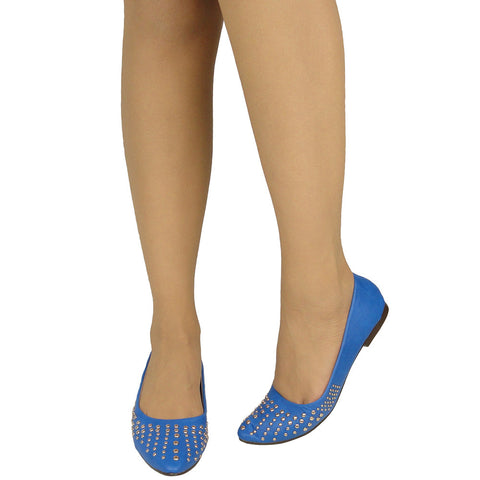 Womens Ballet Flats Pointy Toe Studded Toe Cap Blue
