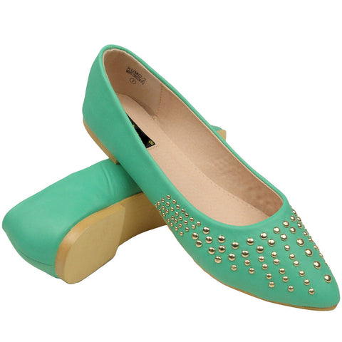 Womens Ballet Flats Pointy Toe Studded Toe Cap Green