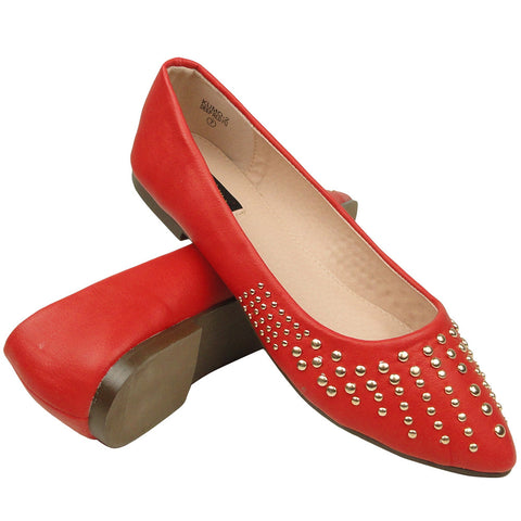 Womens Ballet Flats Pointy Toe Studded Toe Cap Red