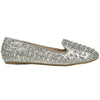 Womens Ballet Flats Glitter and Studded Easy Slip On Silver
