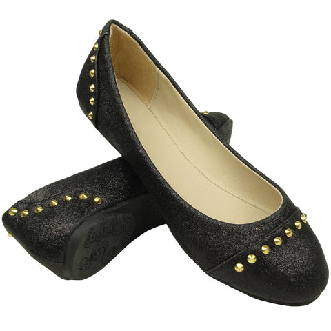 Womens Ballet Flats Glitter and Gold Studded Slip On black