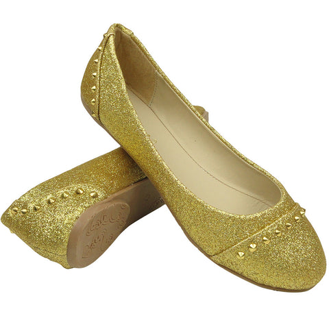 Womens Ballet Flats Glitter and Gold Studded Slip On Gold