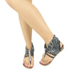 Womens Flat Sandals Gladiator Thong Rhinestone Pull On black