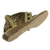 Womens Flat Sandals Gladiator Thong Rhinestone Pull On Tan