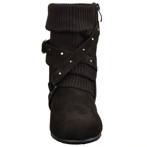 Ankle Boots Slouch Knitted and Suede Cross Strap Buckles Brown
