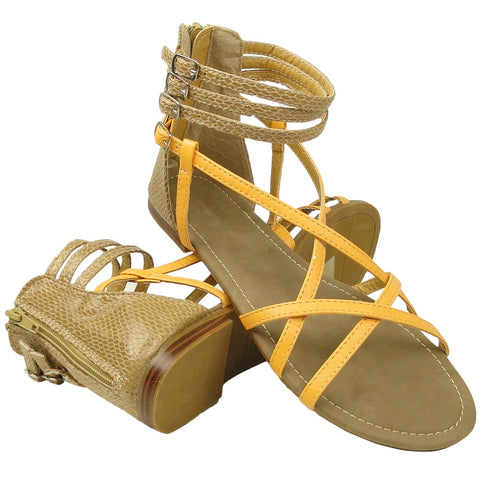 Womens Flat Sandals Strappy Back Snake Print Zipper Closure Yellow