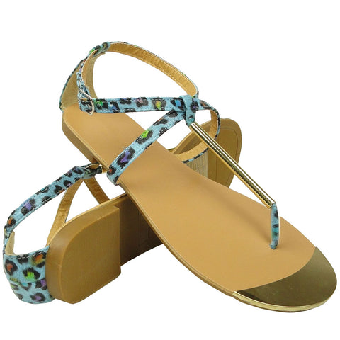 Womens Flat Sandals Metal Thong Leopard Print Ankle Buckle Blue