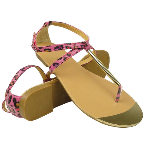Womens Flat Sandals Metal Thong Leopard Print Ankle Buckle Pink