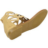 Womens Flat Sandals T-Strap Eyelet Cutout Back Zipper Closure Tan