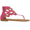 Womens Flat Sandals T-Strap Eyelet Cutout Back Zipper Closure Pink