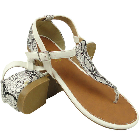 Womens Flat Sandals Snake Print T-Strap and Back Ankle Strap White