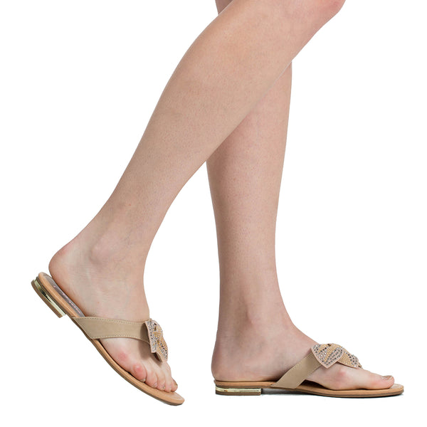 990d06733cee Womens Flat Sandals Studded Bow Accent Slip On Thong Sandal Beige