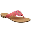 Womens Flat Sandals Studded Bow Accent Slip On Thong Sandal Coral