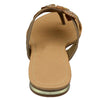 Womens Flat Sandals Studded Bow Accent Slip On Thong Sandal Tan
