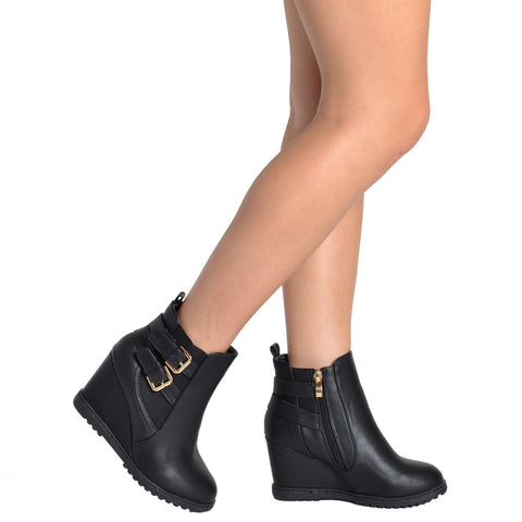 Womens Ankle Boots Double Strap Buckles Wedge Comfort Shoes Black