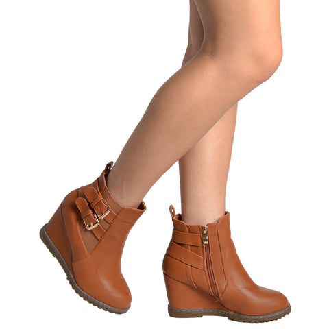 Womens Ankle Boots Double Strap Buckles Wedge Comfort Shoes Tan