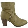 Womens Ankle Boots Ruched Faux Zipper Casual Dress Shoes Beige