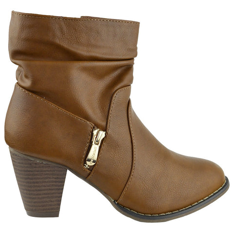 Womens Ankle Boots Ruched Faux Zipper Casual Dress Shoes Cognac