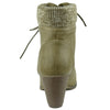 Womens Ankle Boots Knitted Collar Casual Dress Shoes Beige