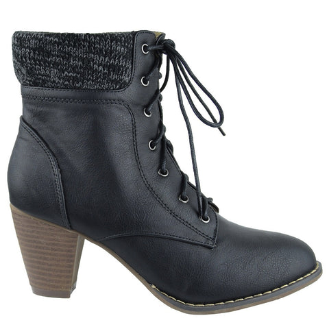 Womens Ankle Boots Knitted Collar Casual Dress Shoes black
