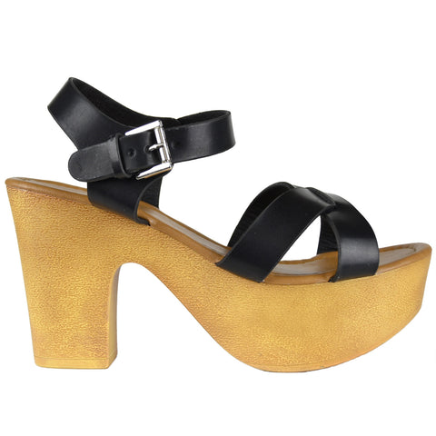 Womens Platform Sandals Lightweight Casual X Strap Chunky Heel Shoes Black