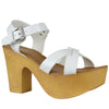 Womens Platform Sandals Lightweight Casual X Strap Chunky Heel Shoes White