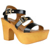 Womens Platform Sandals Lightweight Buckle Accent Chunky Heel Shoes Black