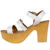 Womens Platform Sandals Lightweight Buckle Accent Chunky Heel Shoes White