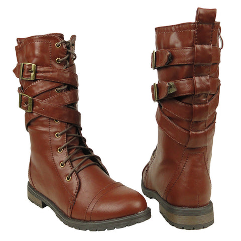 Womens Mid Calf Boots Cross Strap Buckles Combat Casual Comfort Shoes Brown