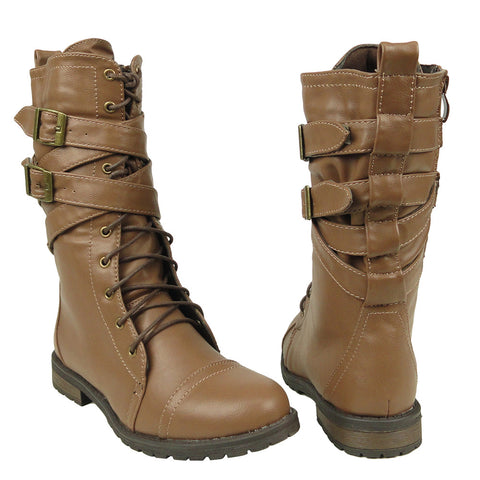 Womens Mid Calf Boots Cross Strap Buckles Combat Casual Comfort Shoes Light Brown