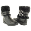 Womens Ankle Boots Leather Faux Fur Cuff Ankle Wrap Buckles Black