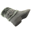 Womens Ankle Boots Faux Fur Cuff Ankle Wrap Buckles Gray